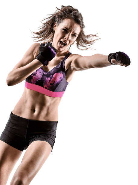 Cardio-Boxen Cross-Core Training Fitness-Training Aerobic Frau isoliert – Foto