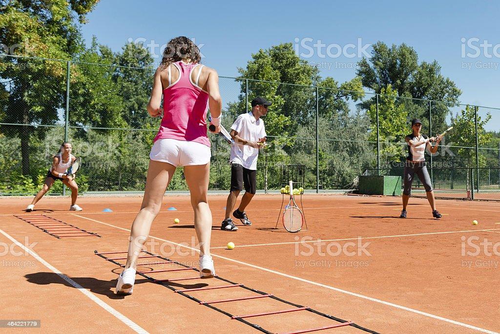 Cardio tennis training stock photo