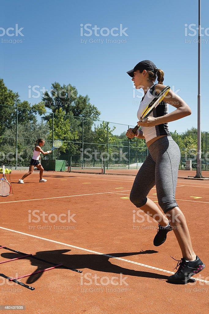 Cardio tennis workout royalty-free stock photo