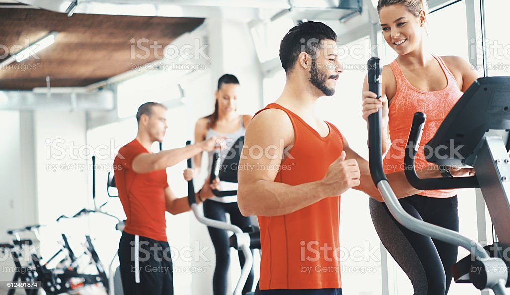 Cardio workout in a gym. stock photo