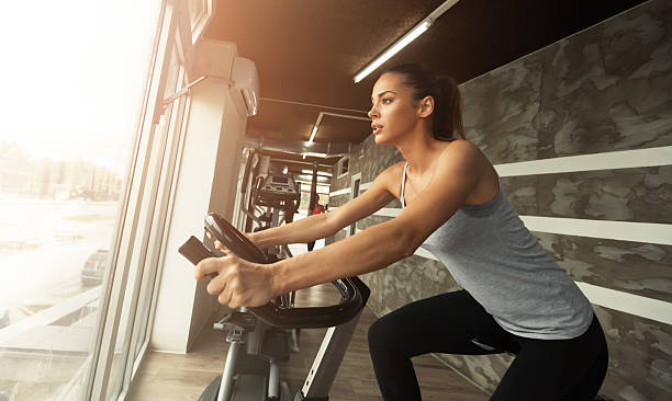 Cardio workout in gym stock photo