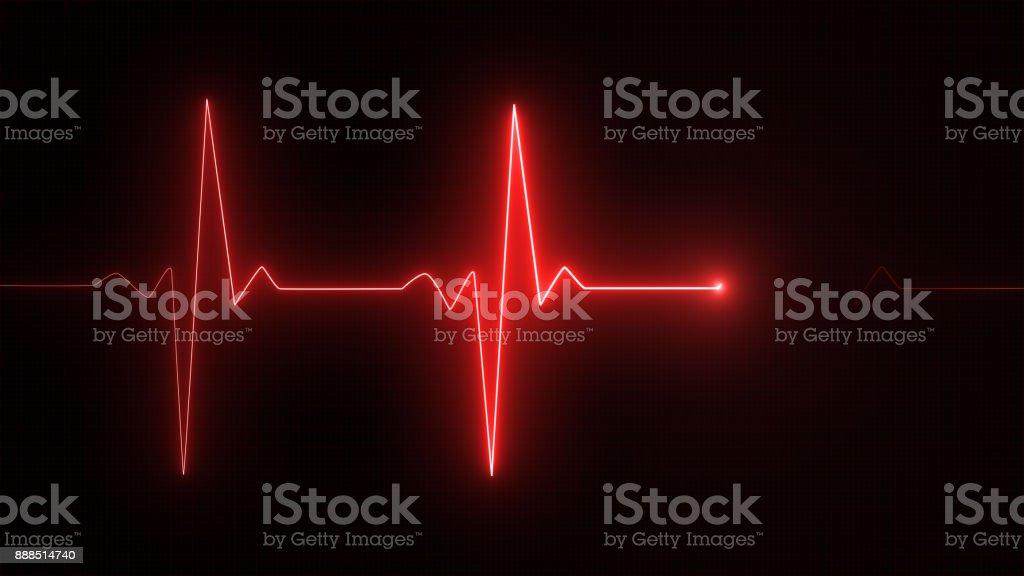Cardiogram cardiograph oscilloscope screen red illustration background stock photo
