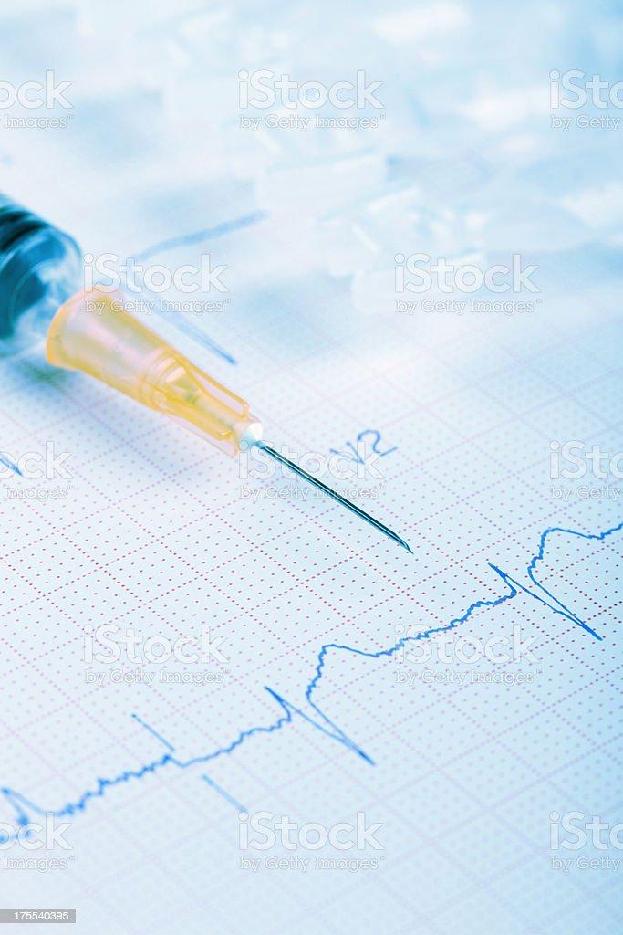 ECG cardiogram chart with syringe royalty-free stock photo