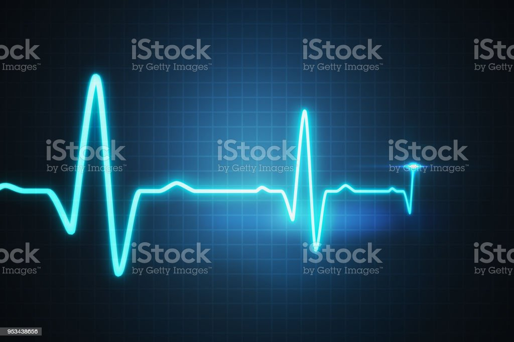 EKG - cardiogram for monitoring heart beat. 3D rendered illustration. stock photo