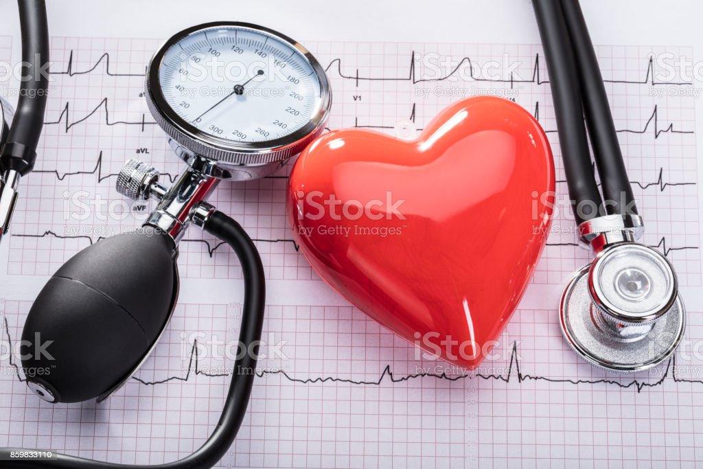 Kardiogramm Herzschlag und medizinische Ausrüstung Lizenzfreies stock-foto