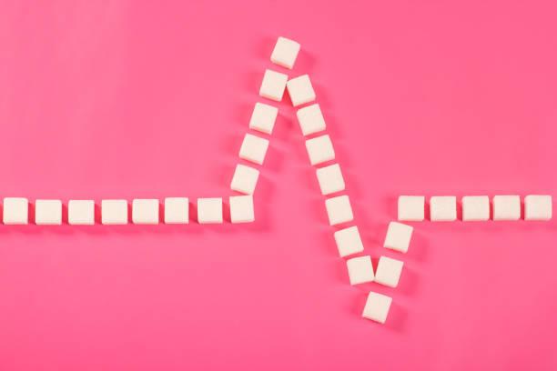 kardiogramm von zuckerwürfeln auf rosa hintergrund - dextrose stock-fotos und bilder
