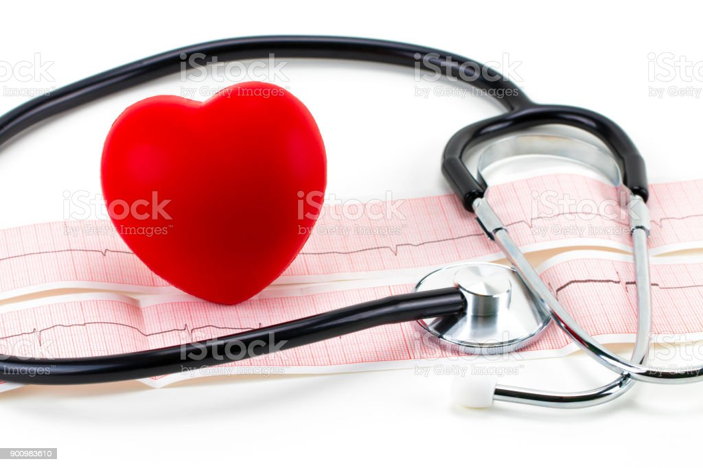 Cardiogram with stethoscope and red heart on white background, closeup stock photo