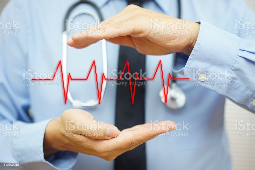 cardiologist is protecting with hand heart bit line stock photo