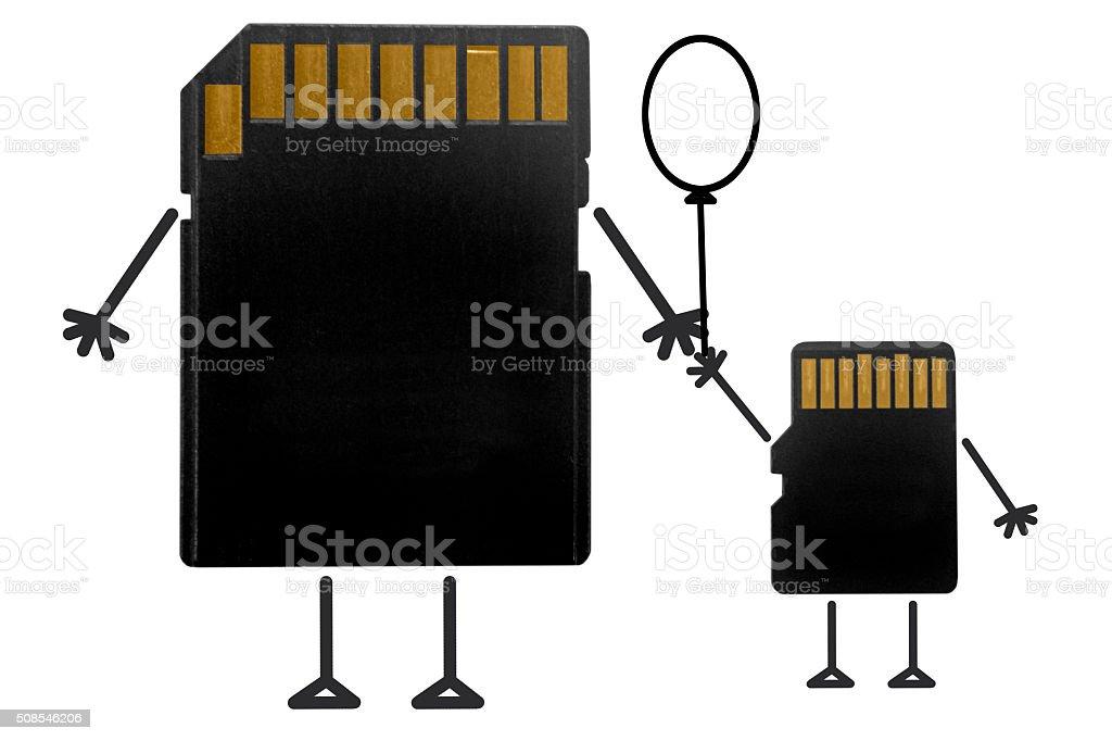 SD Card-Micro SD card, Mother-Baby Concept stock photo