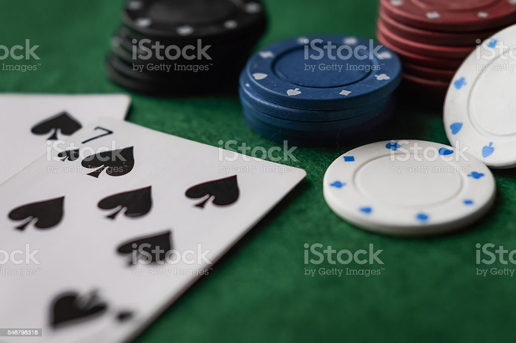 cards and chips stock photo