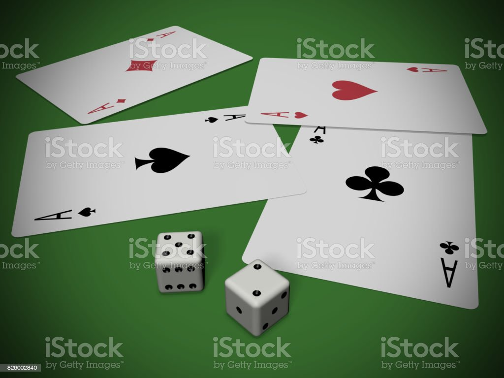 Cards and dices stock photo