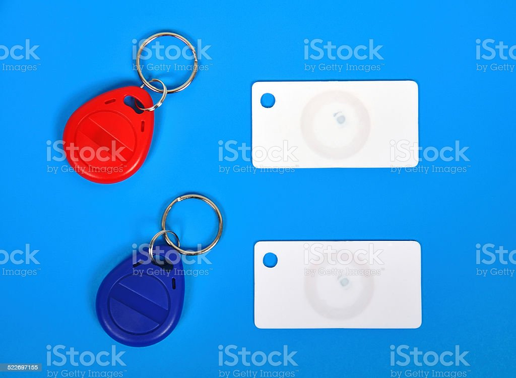 RFID cards and keychain stock photo