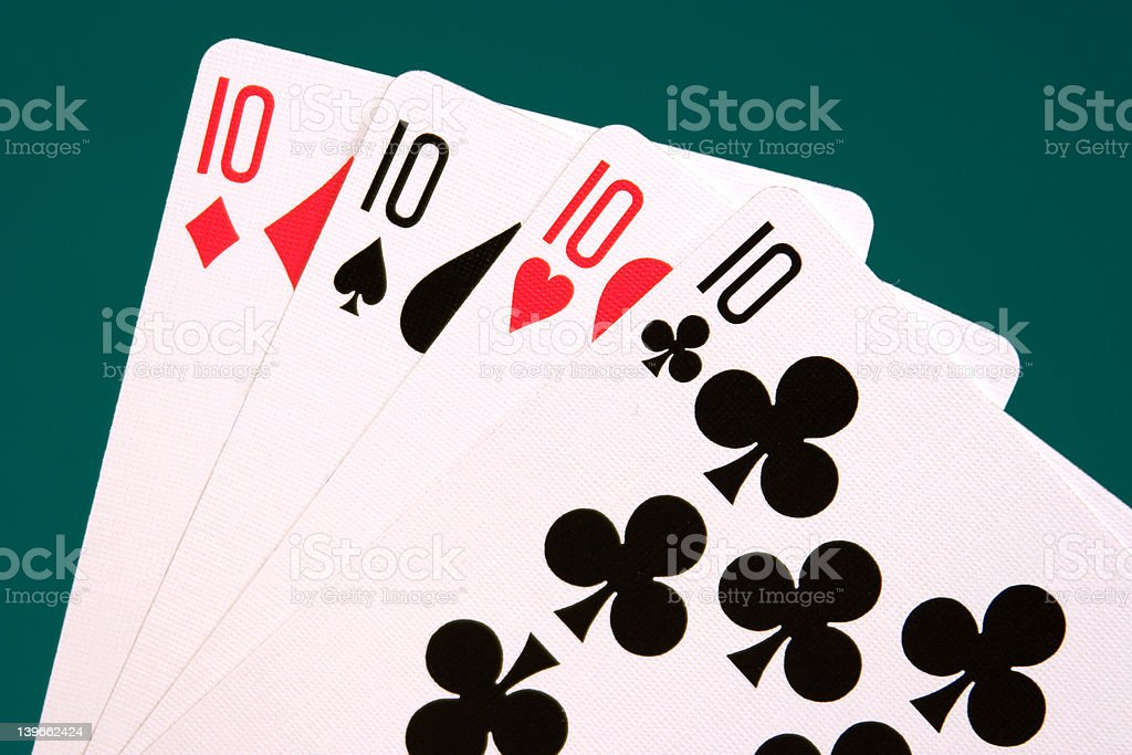 cards four cards 05 10s royalty-free stock photo