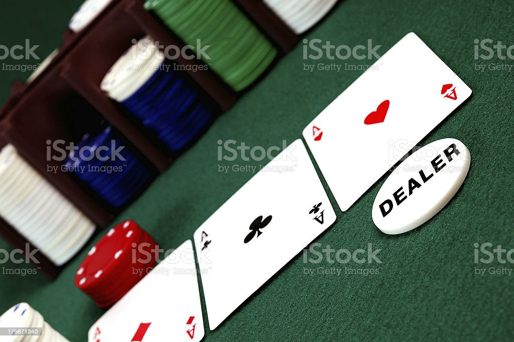 cards , Poker chips and dealer button royalty-free stock photo