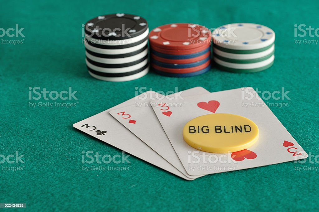 Cards With Poker Chips And The Big Blind Chip Stock Photo