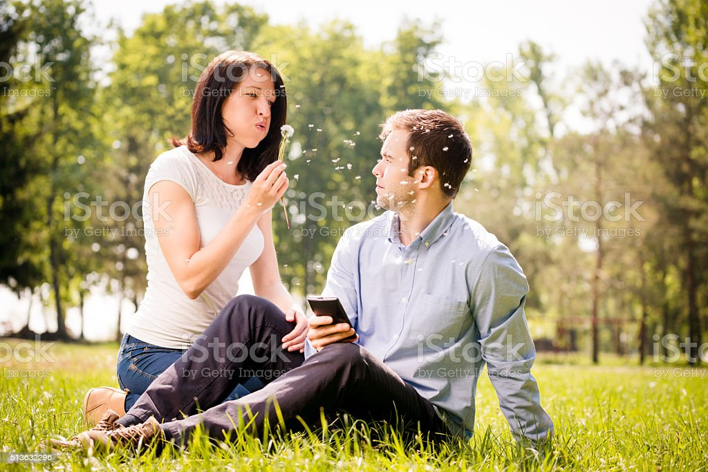 Care about me and put aside phone stock photo
