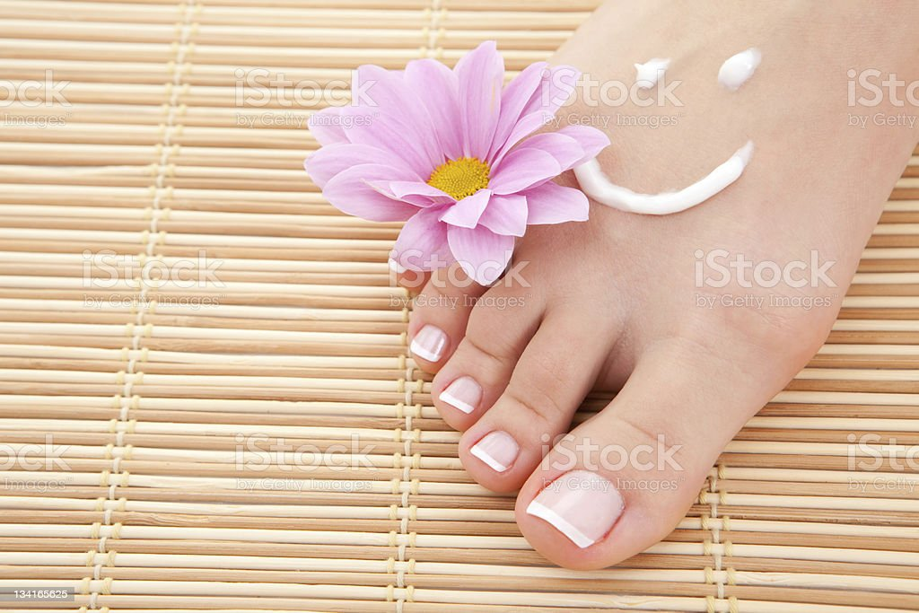 care for beautiful woman legs stock photo