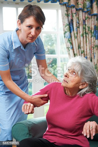 istock Care Worker Mistreating Elderly Woman 533259033