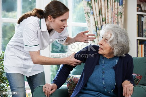 istock Care Worker Mistreating Senior Woman At Home 489310380
