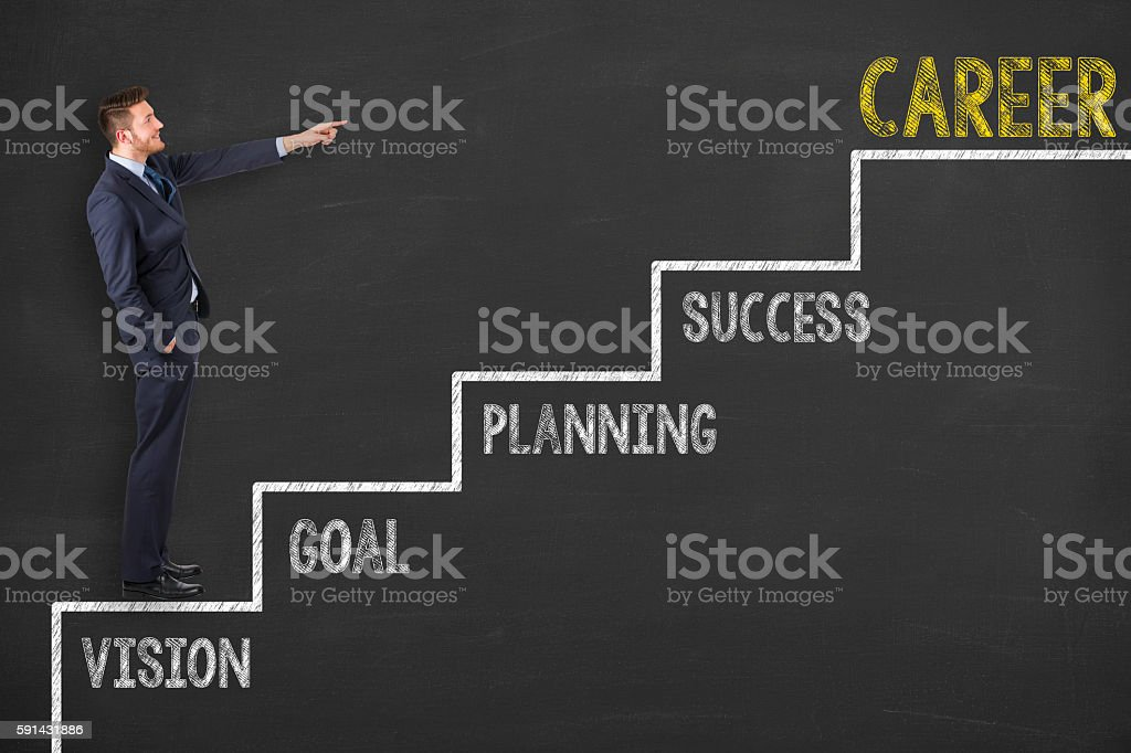 Career Concept Stairs on Blackboard Background stock photo