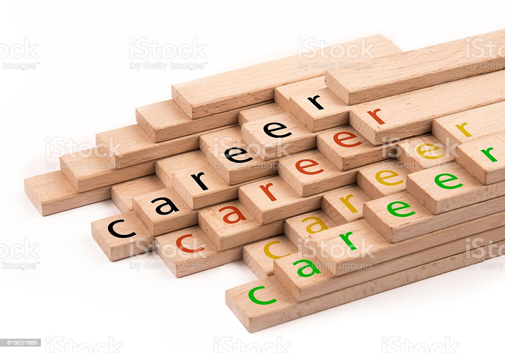 career concept with wooden blocks stock photo