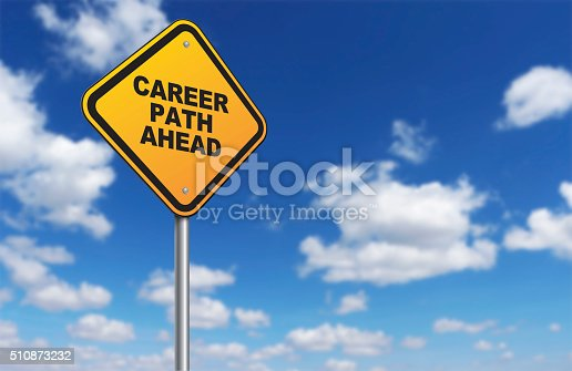 career path ahead of road sign