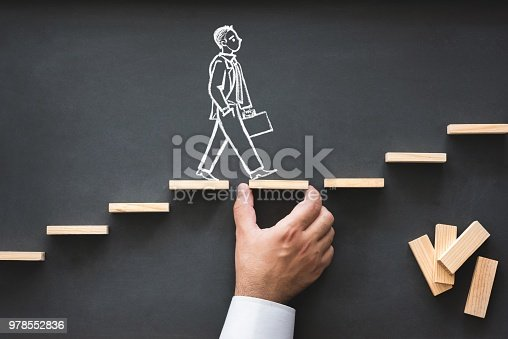 istock Career Planning and Business Challenge Concept with Hand Drawn Chalk Illustrations on Blackboard 978552836