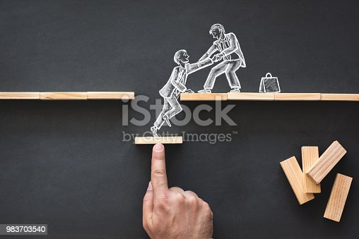 istock Career Planning and Business Challenge Concept with Hand Drawn Chalk Illustrations on Blackboard 983703540