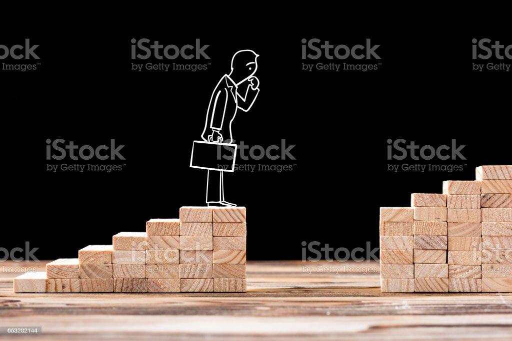 Karriere-Planung-Konzept. Unternehmer, die mit Problemen konfrontiert, Karriereplanung – Foto