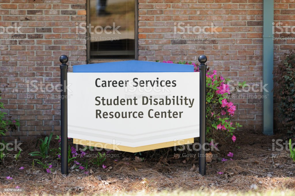 Career services and student disability resource center sign stock photo