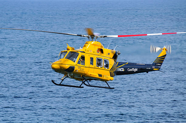 RACQ CareFlight helicopter in action stock photo