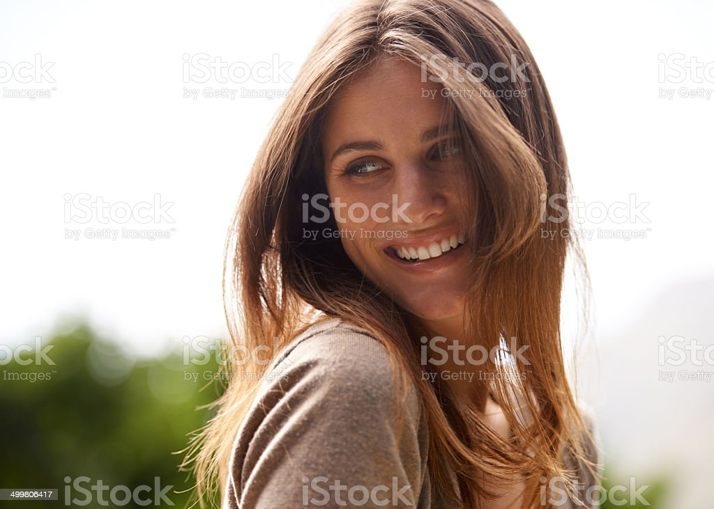 Carefree and positive on a sunny day stock photo