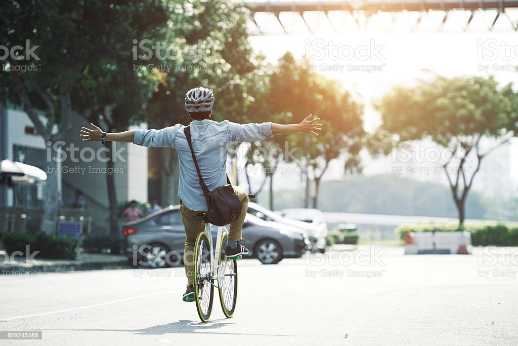 Carefree cycling stock photo