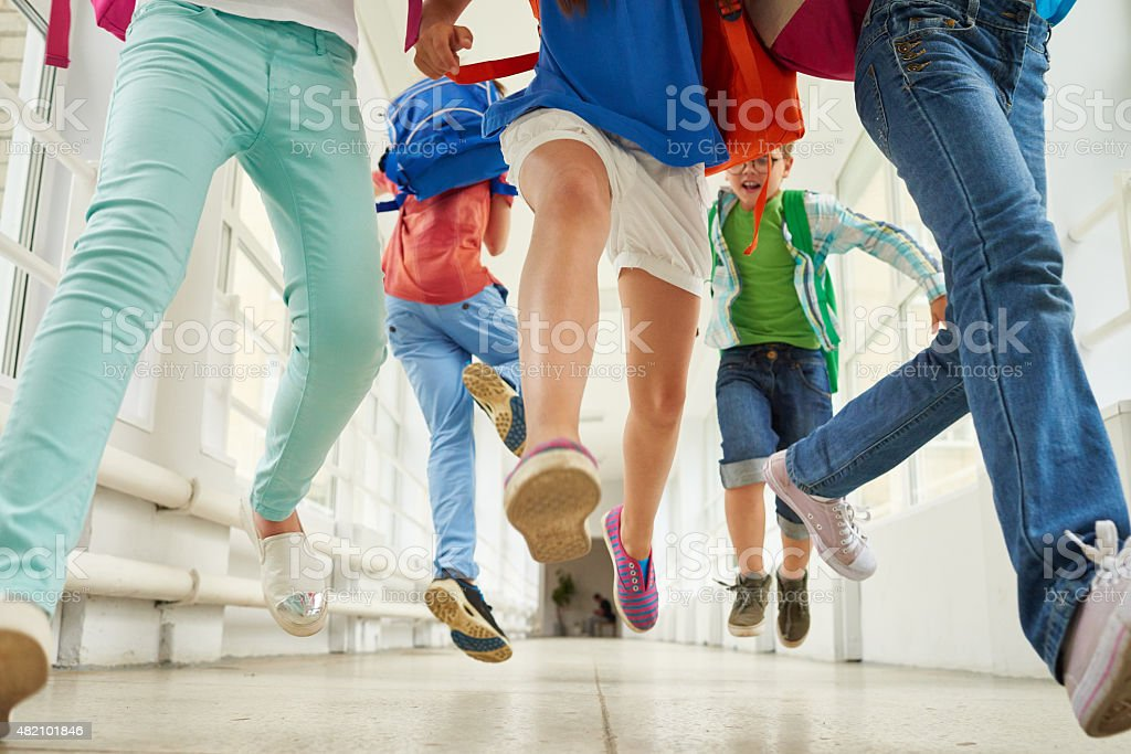 Carefree elementary students stock photo