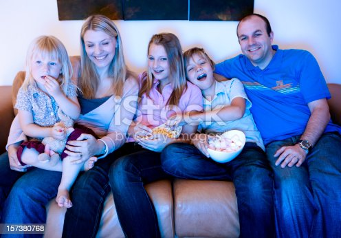 172407626istockphoto Carefree family bonding on the sofa while watching TV 157380768