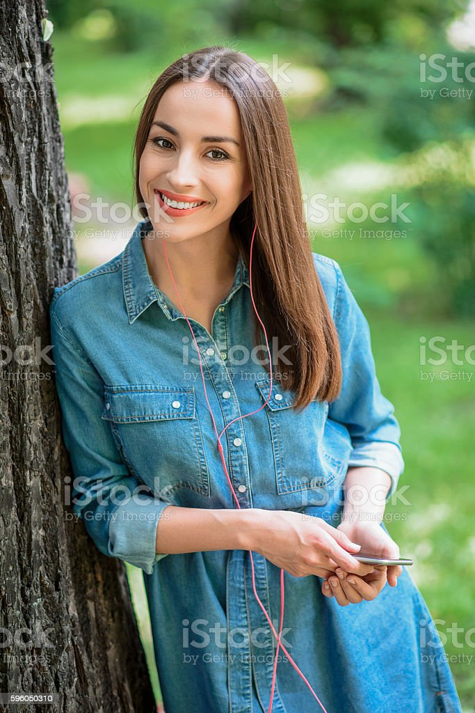 Carefree girl resting in nature royalty-free stock photo