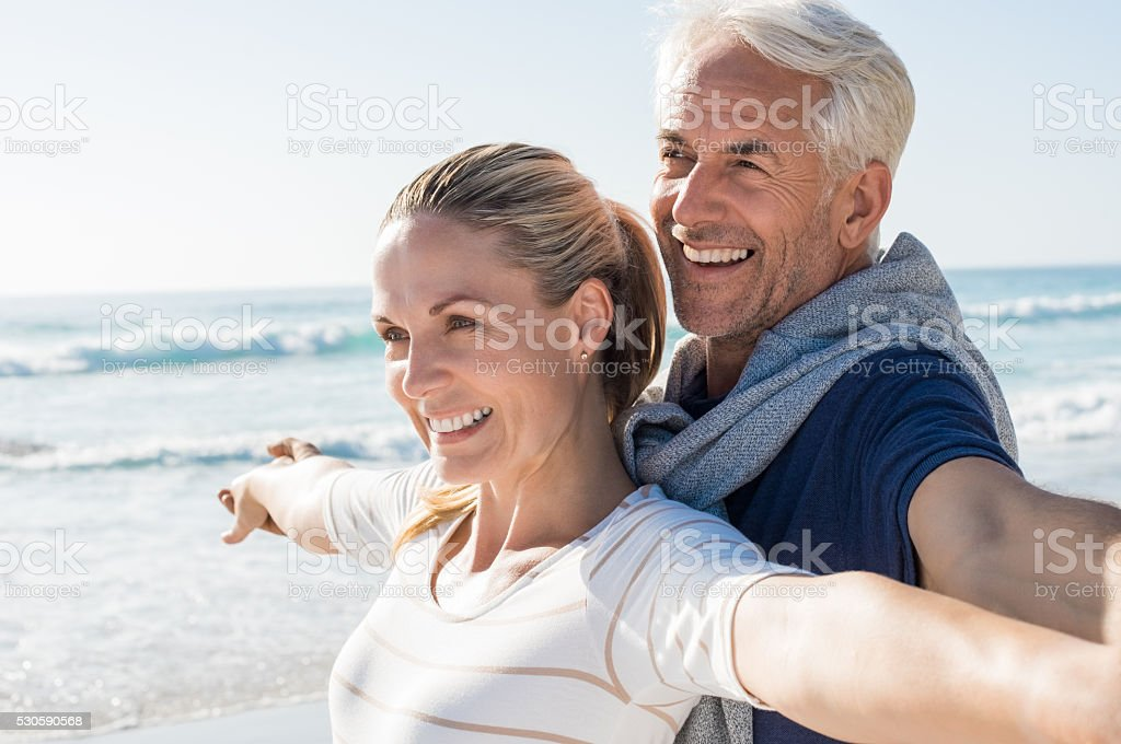 Carefree mature couple stock photo
