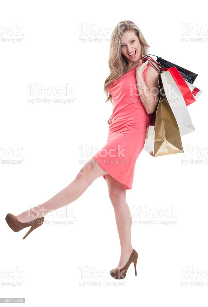 Carefree shopping young female royalty-free stock photo