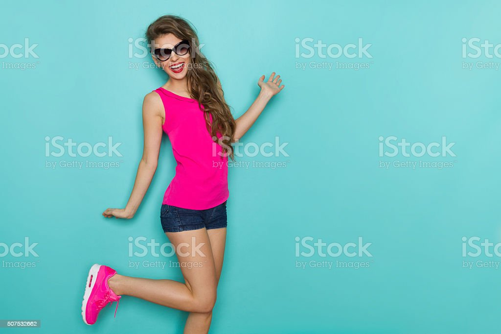 Carefree Shouting Girl stock photo