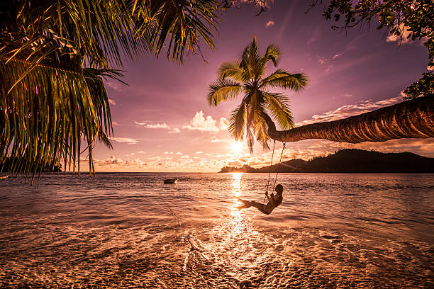 carefree woman swinging above the sea at sunset beach. - pacific islands stock pictures, royalty-free photos & images