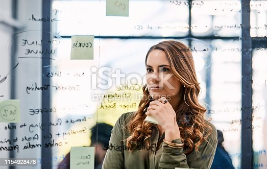 Shot of an attractive young businesswoman planning and writing notes on a glass wall in her office at work
