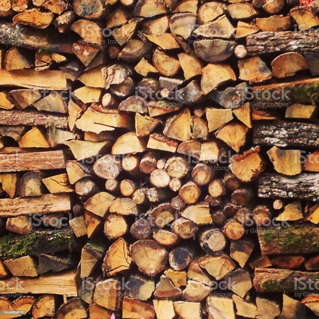 Carefully stacked neat woodpile stock photo