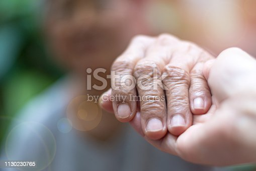istock Caregiver, carer hand holding elder hand woman in hospice care. Philanthropy kindness to disabled concept.Public Service Recognition Week 1130230765