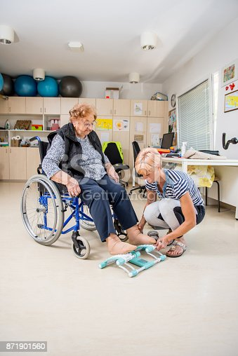 912333752 istock photo Caregiver Helping Senior Woman With Phisyotherapy Exercise 871901560