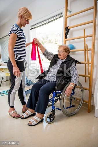 912333752 istock photo Caregiver Helping Senior Woman With Phisyotherapy Exercise 871901616