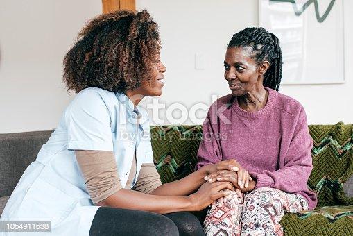 Senior lady and caregiver talking together