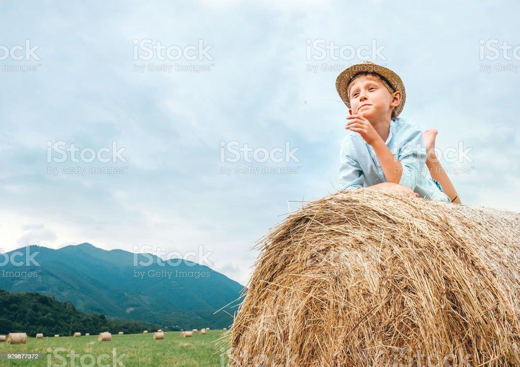 Careless Boy Lies On Hay Roll On The Mountain Field Stock
