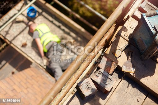 istock careless roofer 813694944