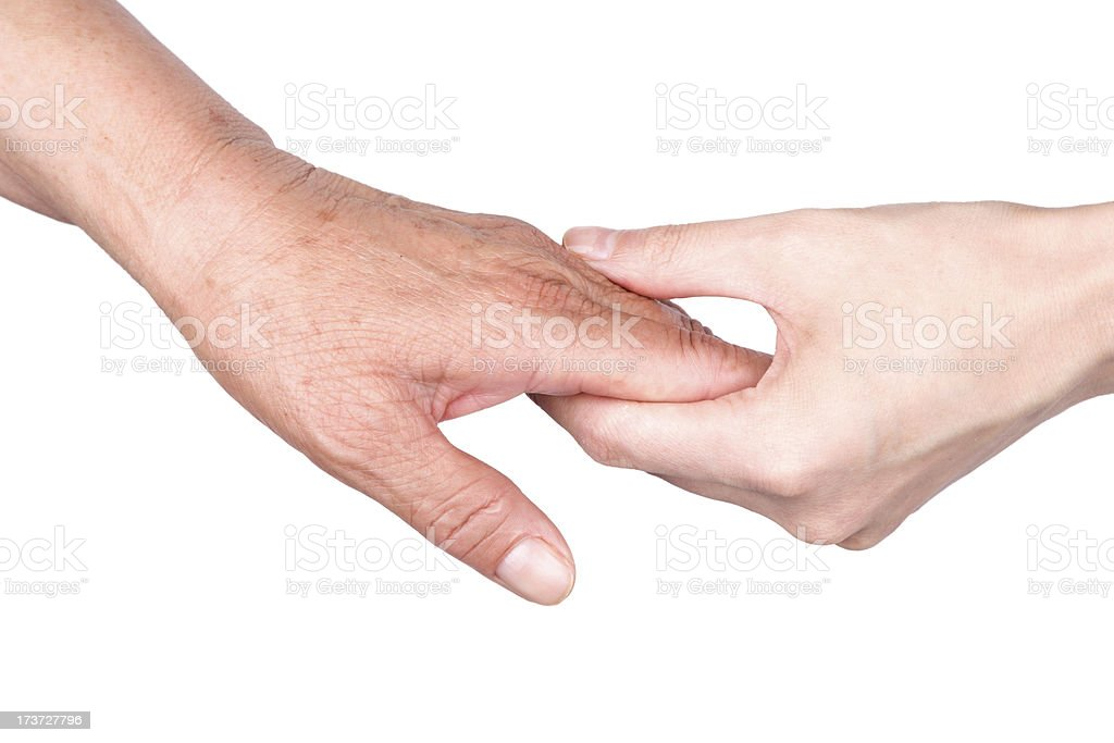 care:Old and Young Hand isolated on white background royalty-free stock photo