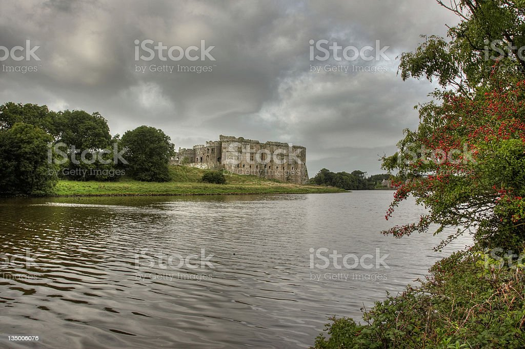 Carew Castle, Pembs on the lake royalty-free stock photo
